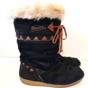 TECNICA Scandia Après Ski Leather Fur Boots 9.5M